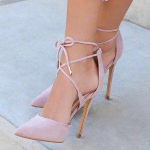 Lulu's Dani Blush Suede Lace Up Heels